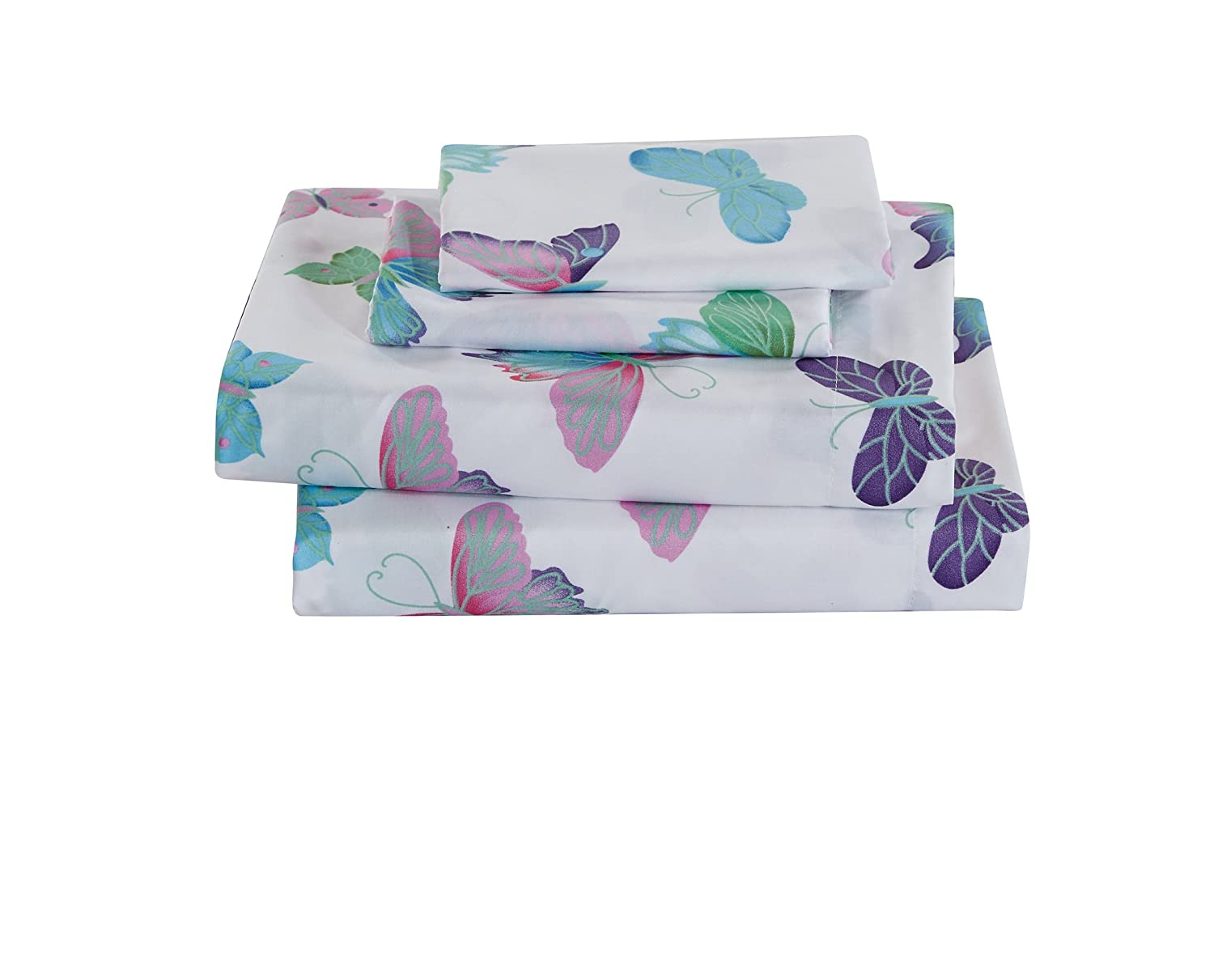 Linen Plus Full Size 4pc Sheet Set for Girls Butterflies Purple White Green Turquoise Pink New