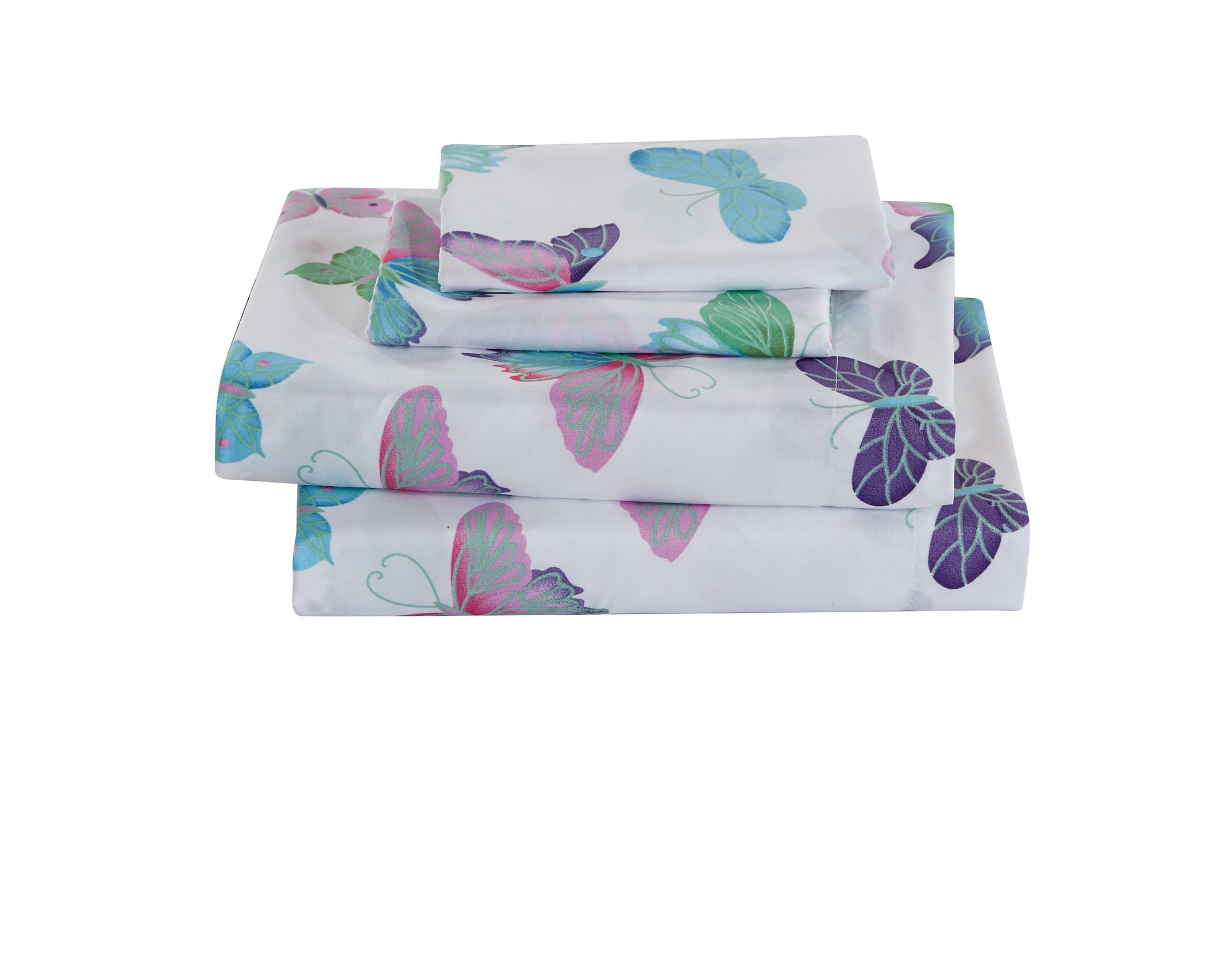 MK Home Mk Collection 4pc Full Sheet Set Butterfly Purple Pink Turquoise Green Girls/Teens New # Butterfly Sheet B