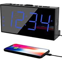 Digital Dual Alarm Clock for Bedroom, Large Display Bedside Clock with Battery Backup, USB Phone Charger, Volume, Dimmer…