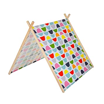 Kids Play Tent - Patterned Wooden A-Frame with Bright Matching ...