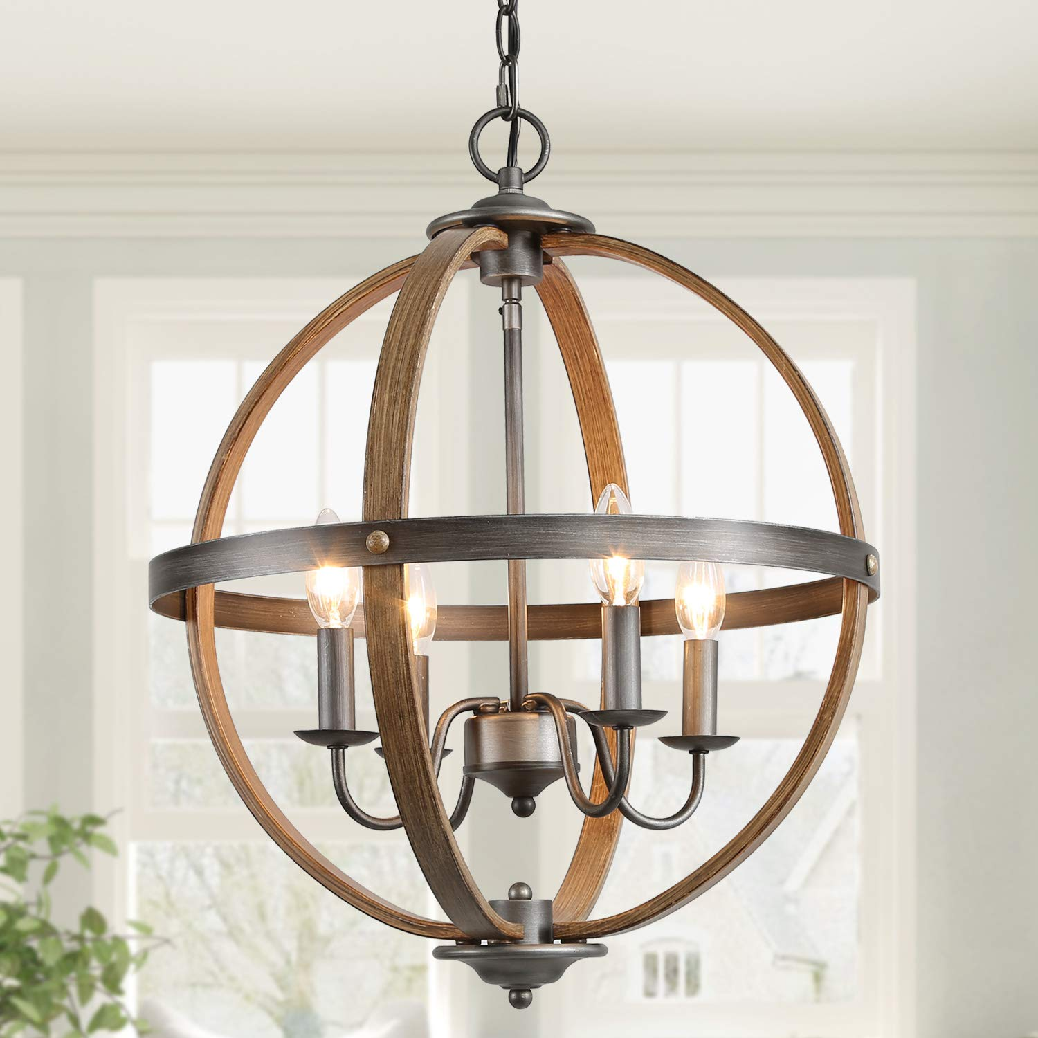 KSANA Farmhouse Chandeliers for Dining Rooms, 4 Lights Metal Dining Room Lighting Fixtures Ceiling Hanging, Orb Foyer Chandelier Lighting for Bedroom and Living Room, Faux Wood & Silver Brushed Finish