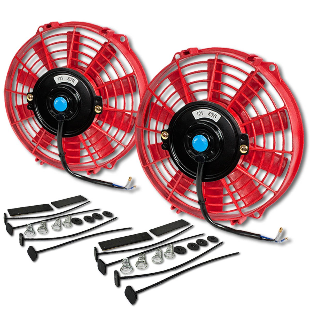 (Pack of 2) 9 Inch High Performance 12V Electric Slim Radiator Cooling Fan w/Mounting Kit - Red