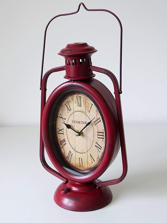 Vintage Retro Style Red Metal Oil Carriage Lantern Lamp Mantel Clock Vintage Distressed EffectStyle Clock- Roman Numerals Hometime