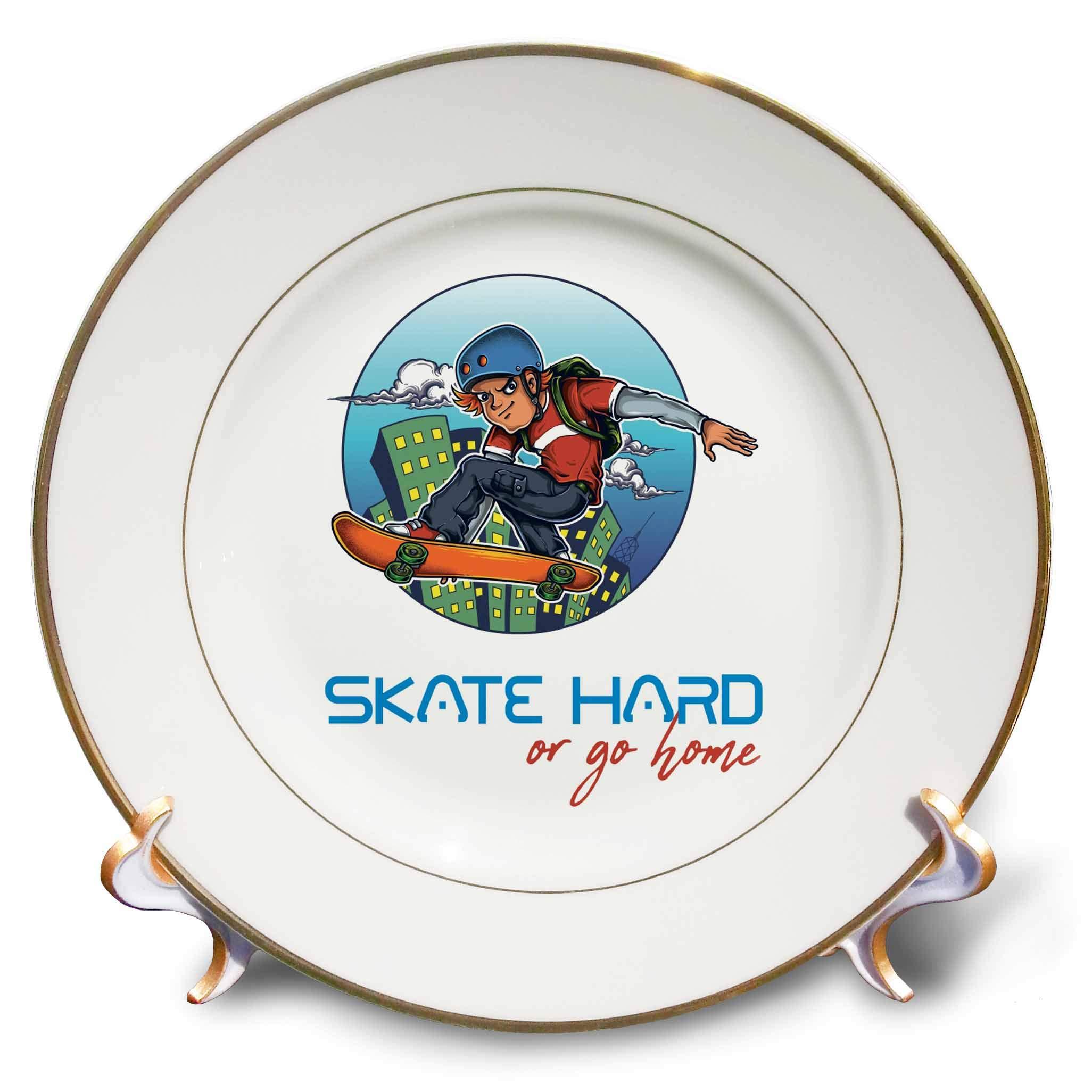3dRose Alexis Design - Sport Skateboard - Brave Male Skater, a Skateboard. City Windows. Skate Hard or go Home - 8 inch Porcelain Plate (cp_292931_1)
