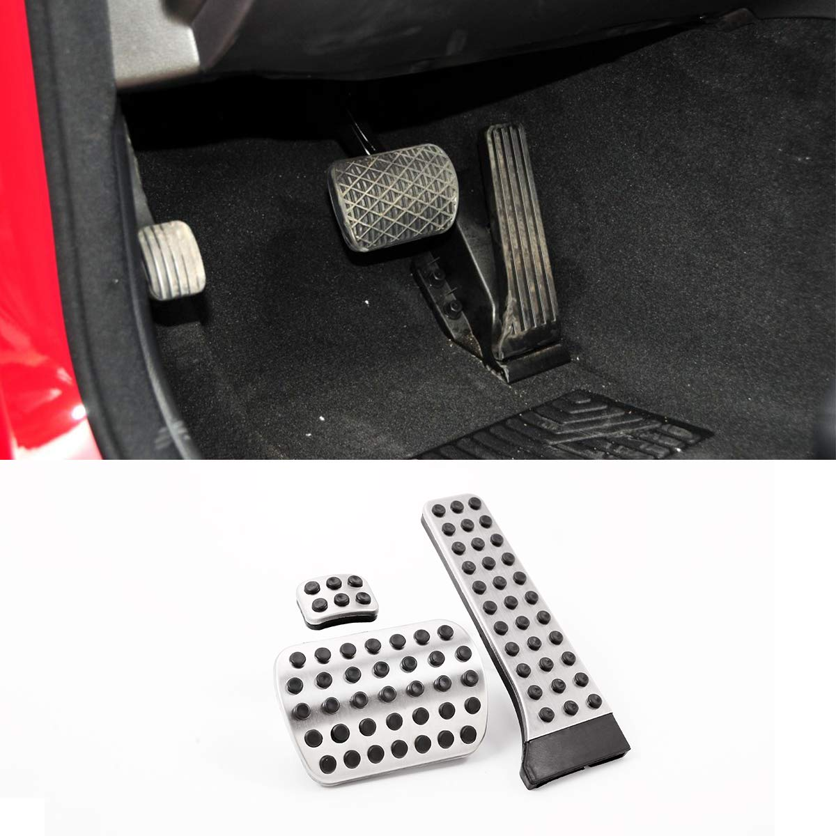 3pcs No-Drilling Stainless Steel Car Gas Fuel Brake Pedal for Mercedes Benz C W204 2007-2014 E Class W212 2010-2015 GLK X204 SLK CLS