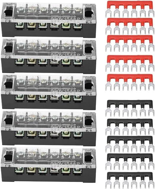 Bornier /à vis double rang/ée 5 positions 600V 15A avec 10 barrettes de borne pr/é-isol/ées