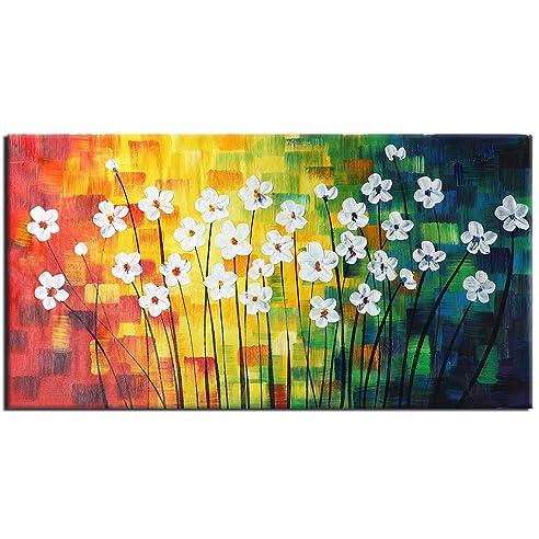 Raybre Art® 50 x 100 cm 100% Handgemalt Gemälde auf Leinwand ...