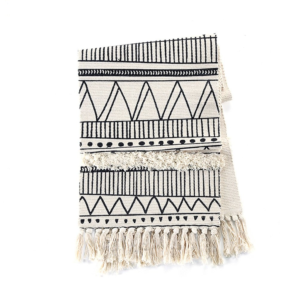 Geometric Pattern Black and White Fringed Tufted Table Runner Nordic Minimalist Fashion Tablecloth Table For The Piano TV Cabinet Bedside Cover Towel Dust Cloth ( Size : 35*220CM ) LEILEI