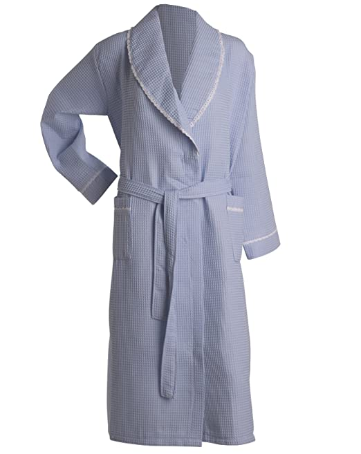 fcb54b649b Slenderella Ladies Lightweight Waffle Robe Lace Trim Shawl Collar Hotel Spa Dressing  Gown (5 Colours)  Amazon.co.uk  Clothing