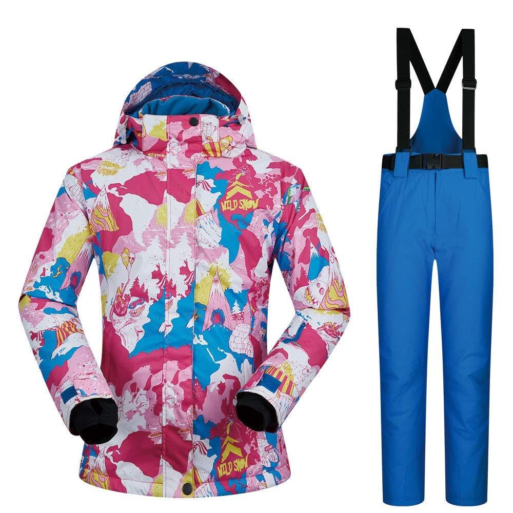 防水スノーシューズ、 スキースーツレディーススーツ通気性防水防風旅行コールドウィンタースキースーツ (色 : 青 pants, サイズ : S) 青 pants Small