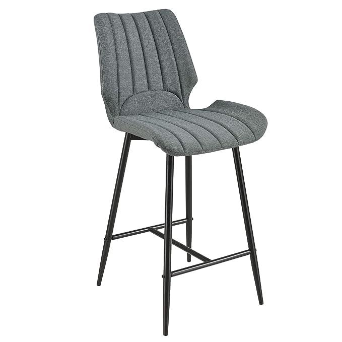771ddfed5405 [en.casa]®] Set de 6 Taburetes de Barra Cocina Comedor Planica 102,5 x 46,5  x 51cm Juego de sillas Altas de Tejido Patas de Metal Gris Oscuro:  Amazon.es: ...