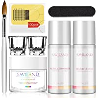 Saviland Clear Acrylic Powder and Liquid Set - Professional Crystal Clear Acrylic Powder with 2.5oz Liquid Monomer Brush…