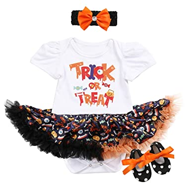 e57841e2fc5e 3PCS Baby Girls 1st Halloween Party Outfits Costumes Newborn Infant  Toddlers Pumpkin Skull Witch Print Tutu