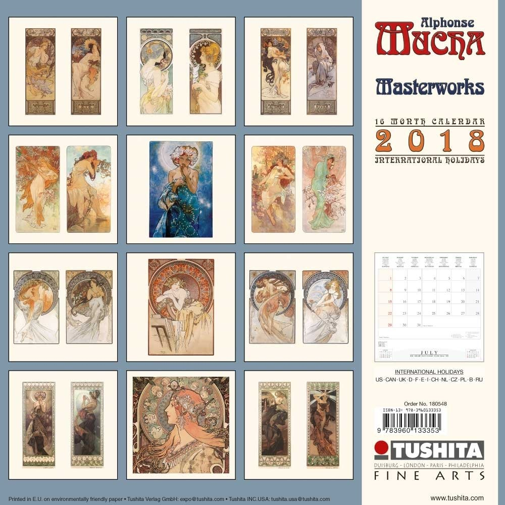 Amazon.com : Alphonse Mucha Masterworks 2018 Wall Calendar : Office Products