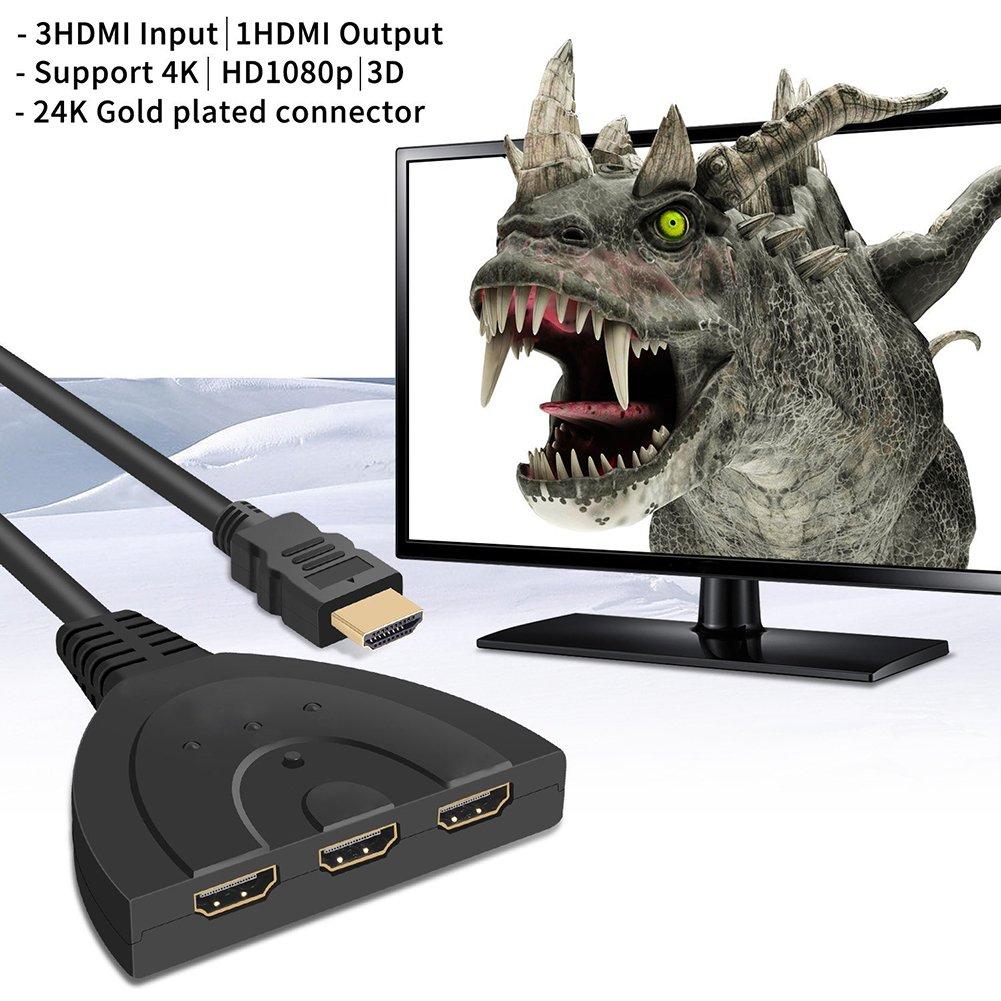 SODIAL Nuevo 3 Puerto HDMI Interruptor Divisor 1080P HD TV Cable de Adaptador 3 en 1 Salida