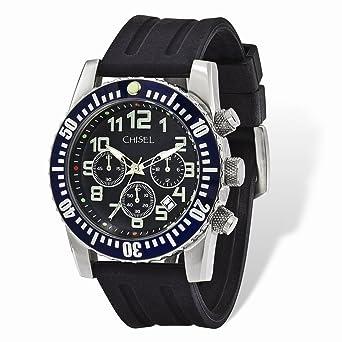 7e91bd8fb Amazon.com  Chisel Black Dial   Silicone Strap Chronograph Mens ...