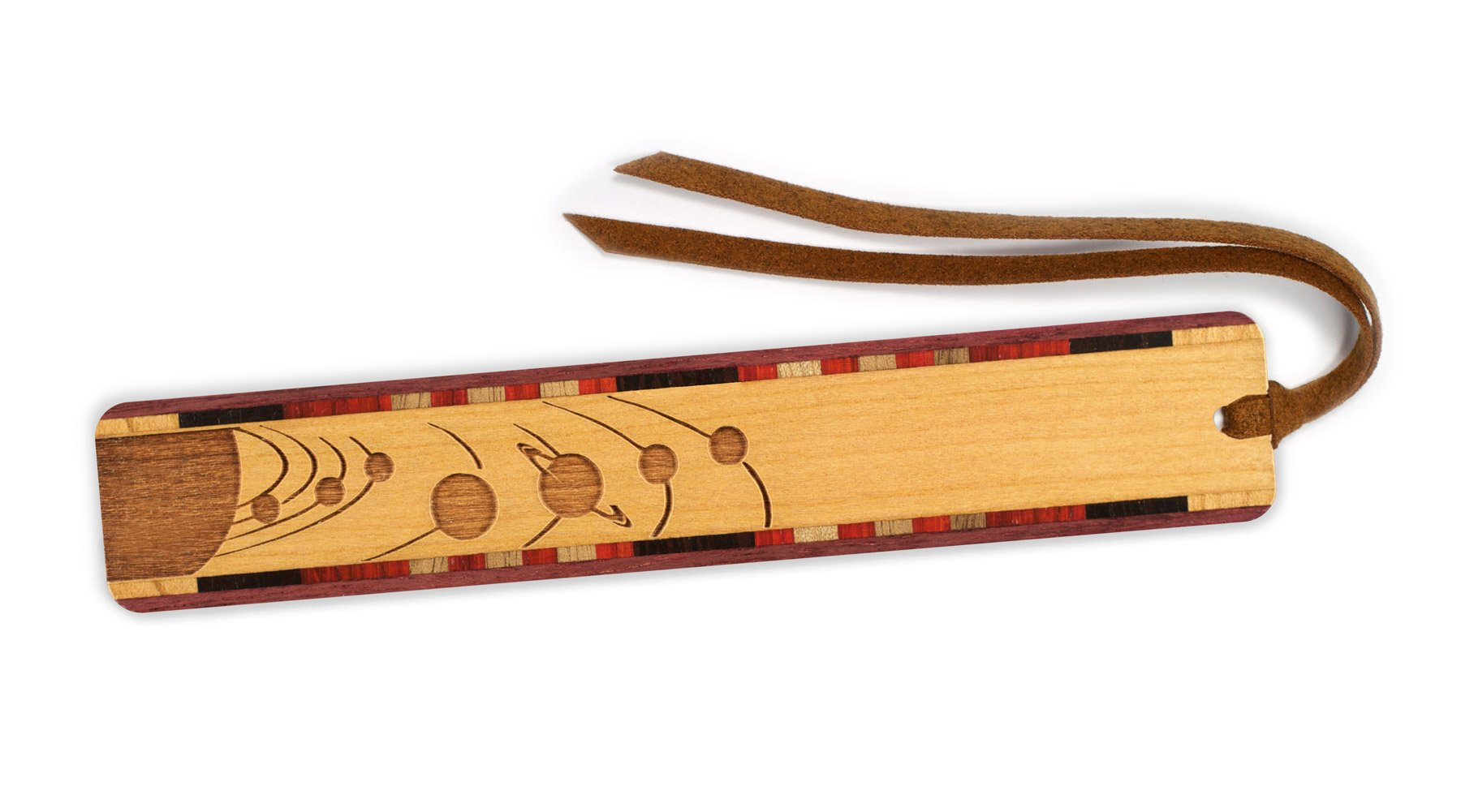 Outer Space - Planets Orbiting Engraved Wooden Bookmark on Cherry with Tassel