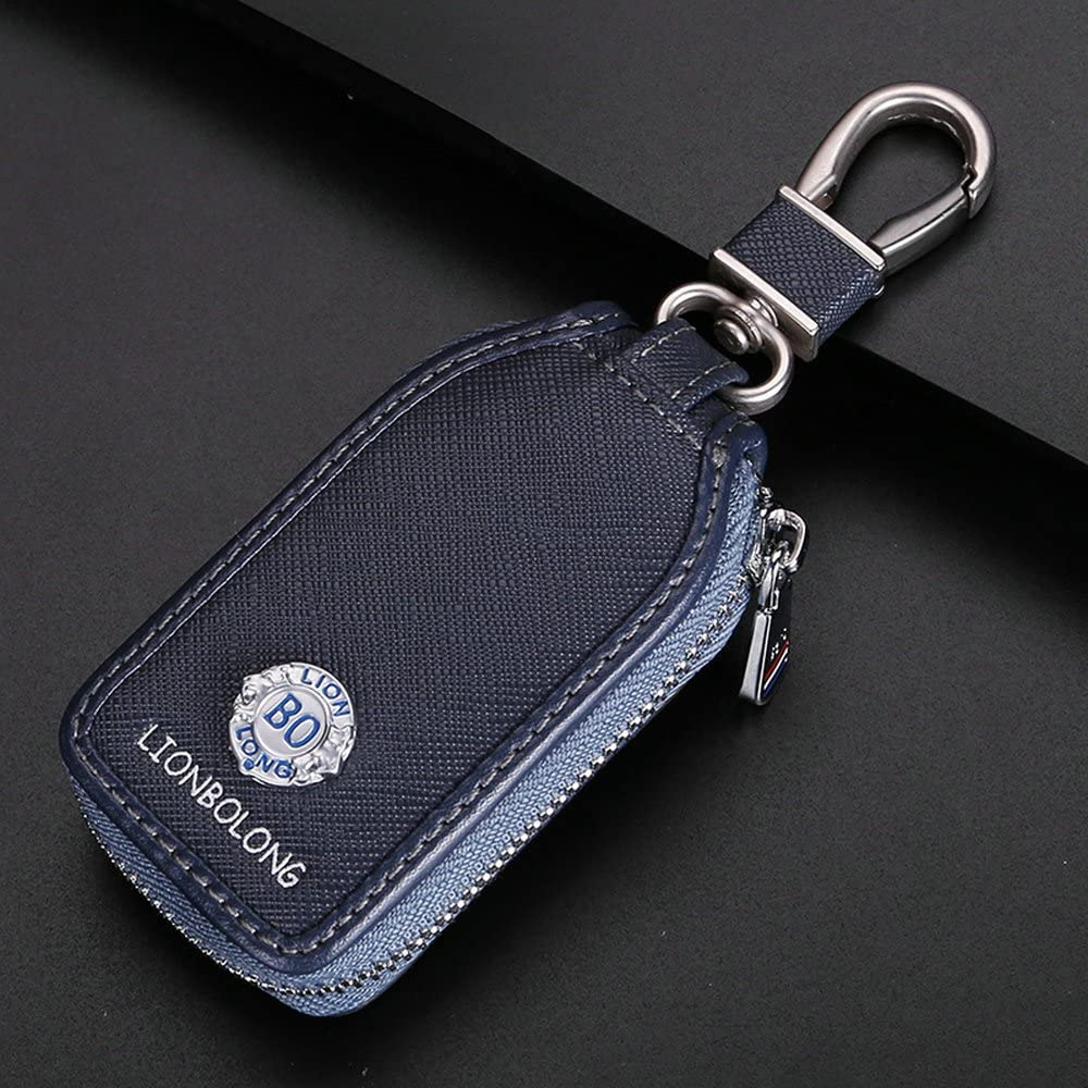 Car Keychain Cover Premium Leather Key Chain Coin Holder Keyring Hook Wallet Zipper Case Remote Smart Key Fob Alarm Security Black