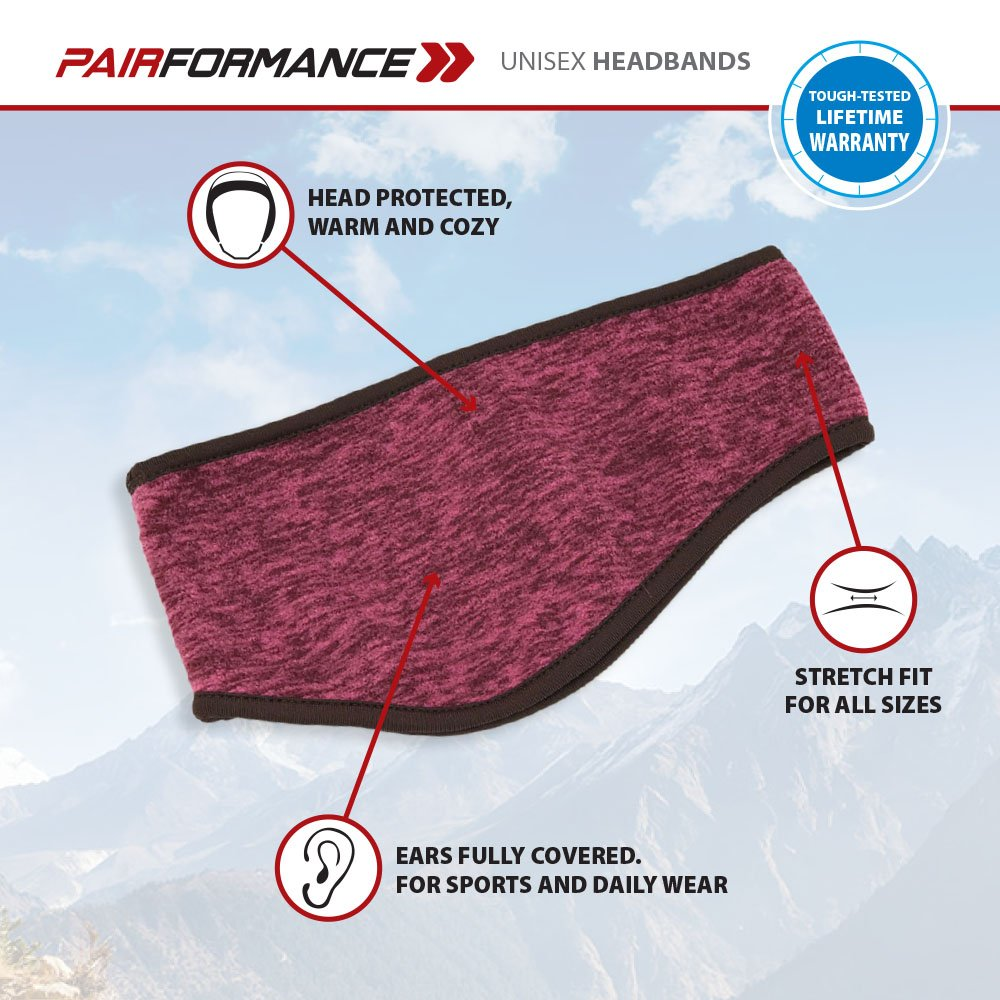 Comfort Ear Muffs for Cold PAIRFORMANCE Ear Warmer Headband 9 Colors Soft Fleece Outdoors and Sports