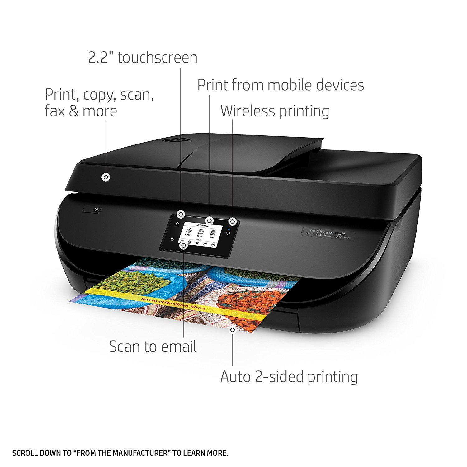 HP OfficeJet 4650 Wireless All-in-One Photo Printer, Copier and Scanner - Black (Certified Refurbished) by HP (Image #2)