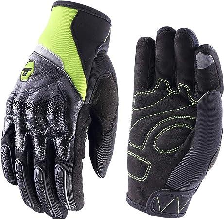Motorradhandschuhe Herren Damen Touchscreen Motorrad Handschuh Sommer Cross Sport Handschuhe Leder Für Männer Frauen Grün M Auto