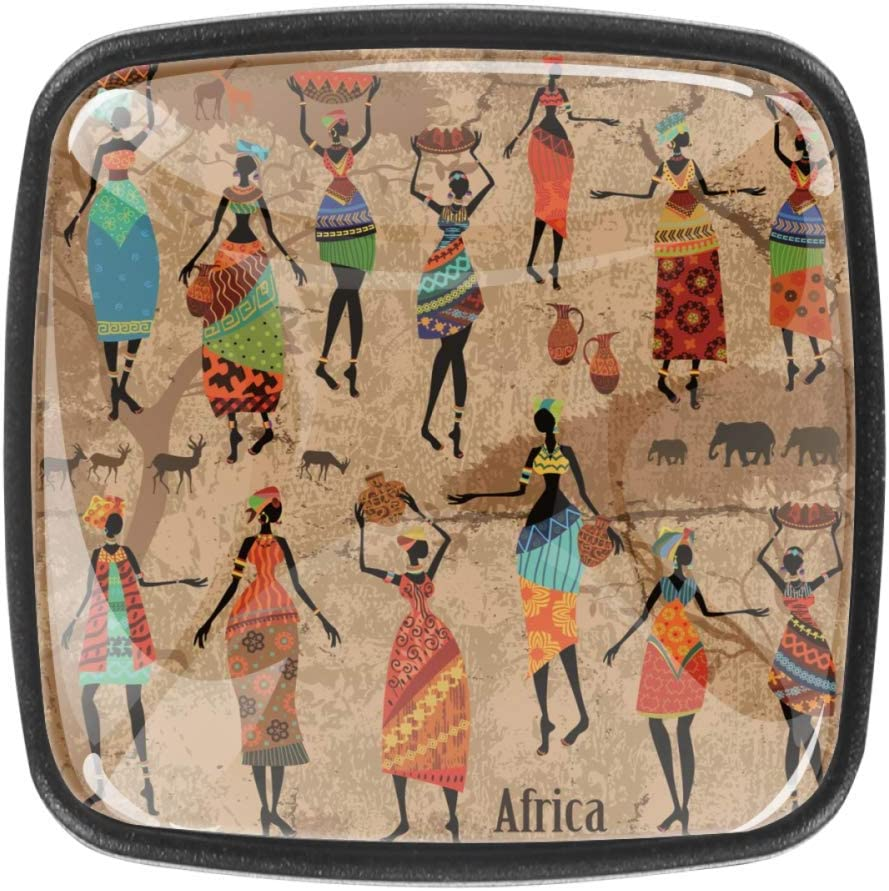 4 Pack Dresser Knobs Square Drawer Pulls Handle with Screws for Home Kitchen Cabinet - Art Vintage Ethnic Tribal Ancient African Women Colorful