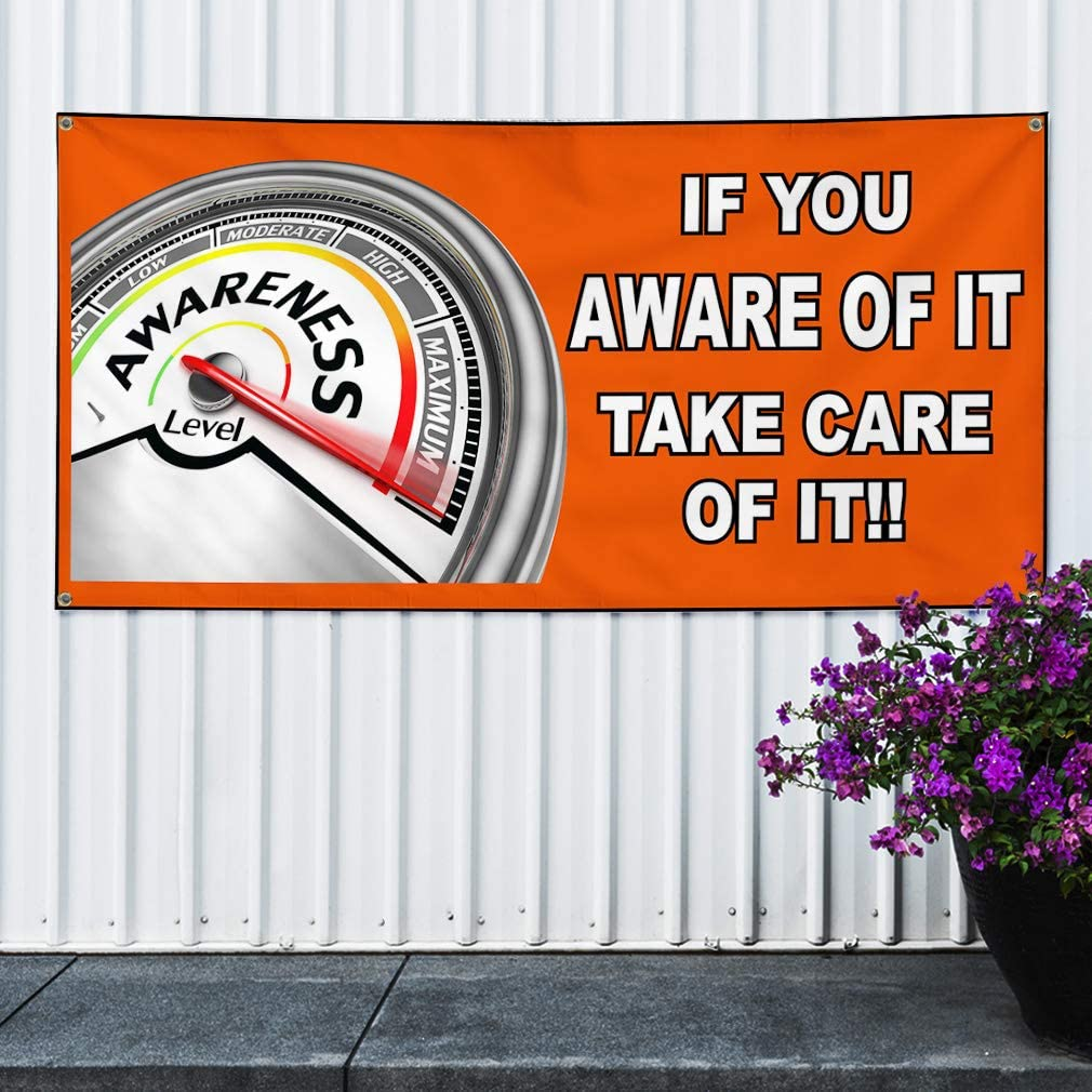 Vinyl Banner Sign If You Aware of It Orange White Lifestyle Marketing Advertising Orange 4 Grommets Set of 3 24inx60in Multiple Sizes Available