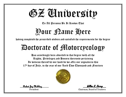 Amazon.com: GZ University Degree – Custom Novelty Diploma Fake ...