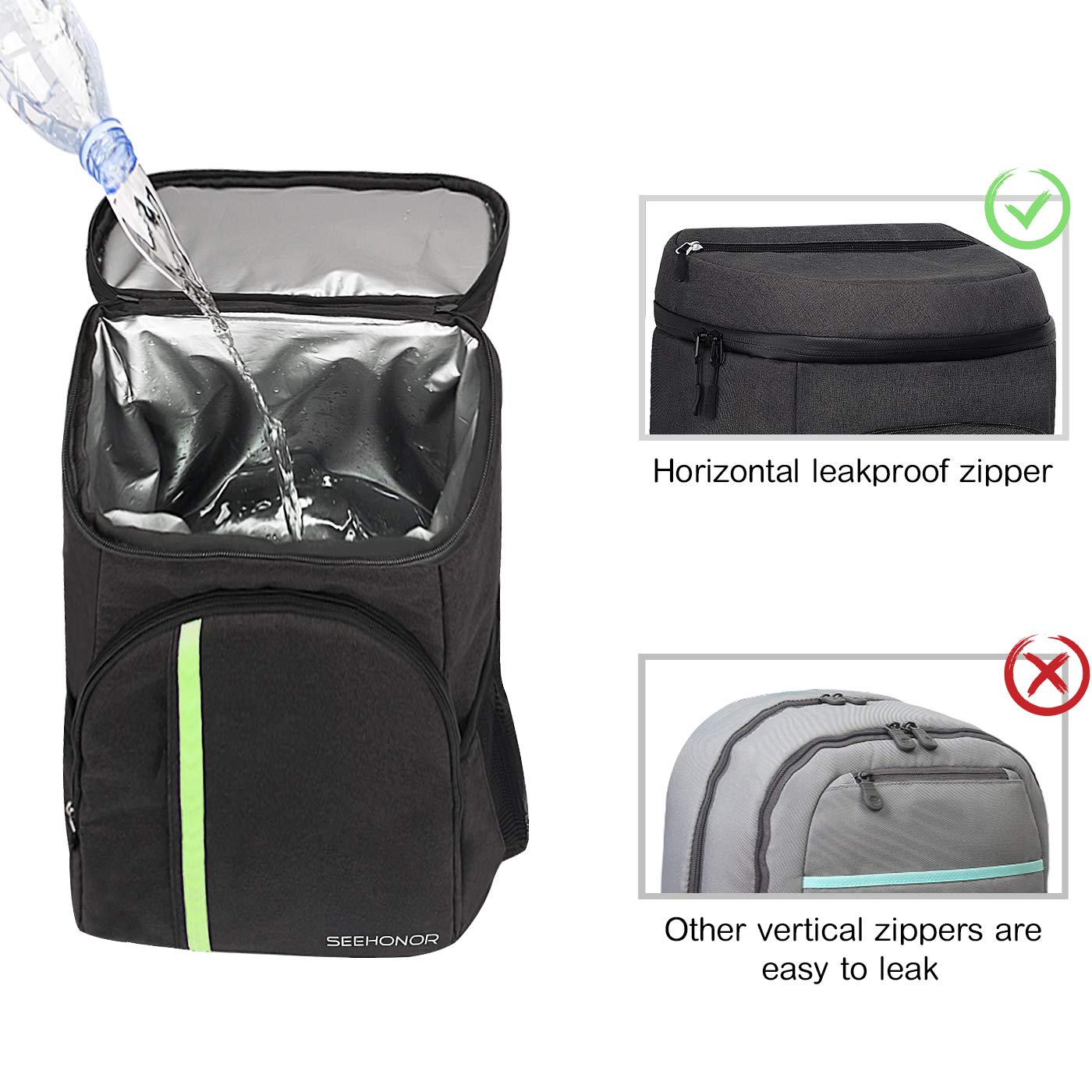 SEEHONOR Insulated Cooler Backpack Leakproof Soft Cooler Bag Lightweight Backpack with Cooler for Lunch Picnic Hiking Camping Beach Park Day Trips, 30 Cans
