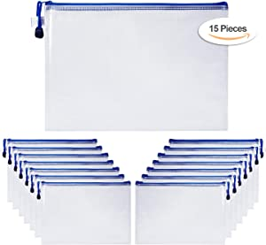 Toosell A4 Mesh Zipper File Bags,Document Pouch, Translucent Portable Bag Storage for Study Stationery, Office Supplies, Business Receipt, Pack of 15 (Blue)