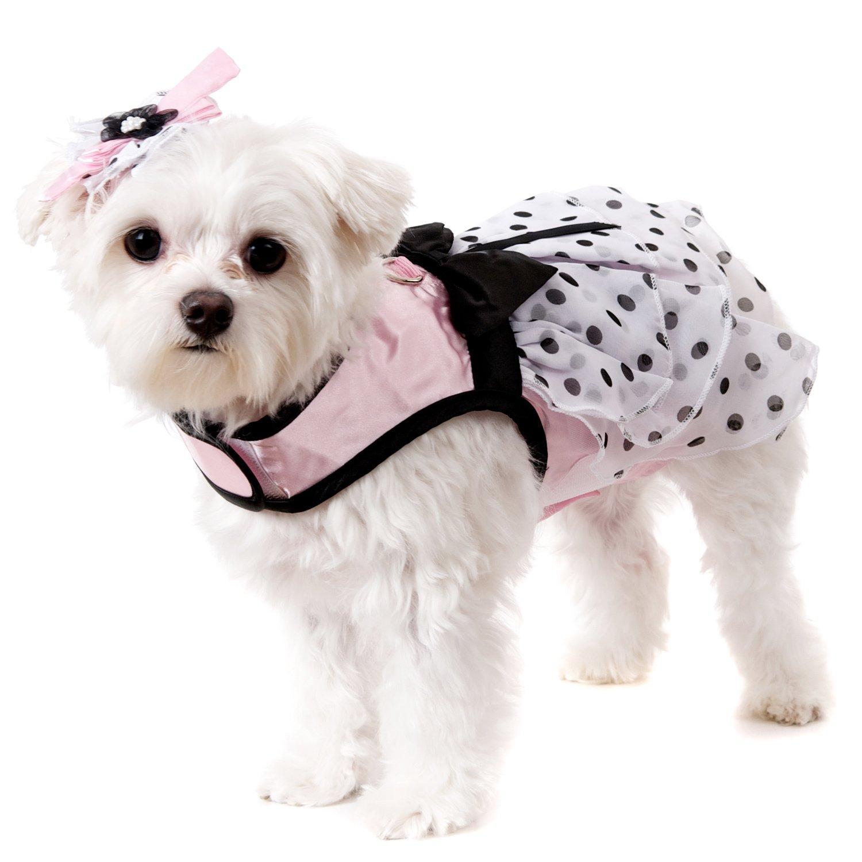 UrbanPup Pink Satin & Hearts Chiffon Harness Dress, Leash & Hat (Small - Dog Body Length: 10'' / 25cm)