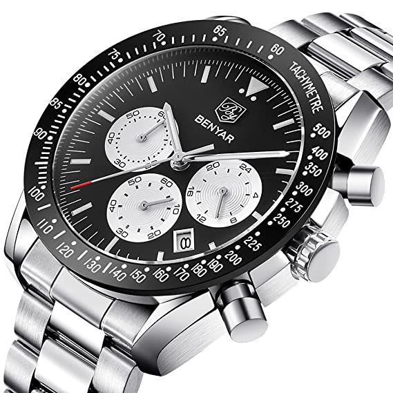 BENYAR Moda Hombres Clásico Cuarzo Cronógrafo Relojes Negocios Casual Deporte Acero Inoxidable Banda Reloj para Hombre: Amazon.es: Relojes