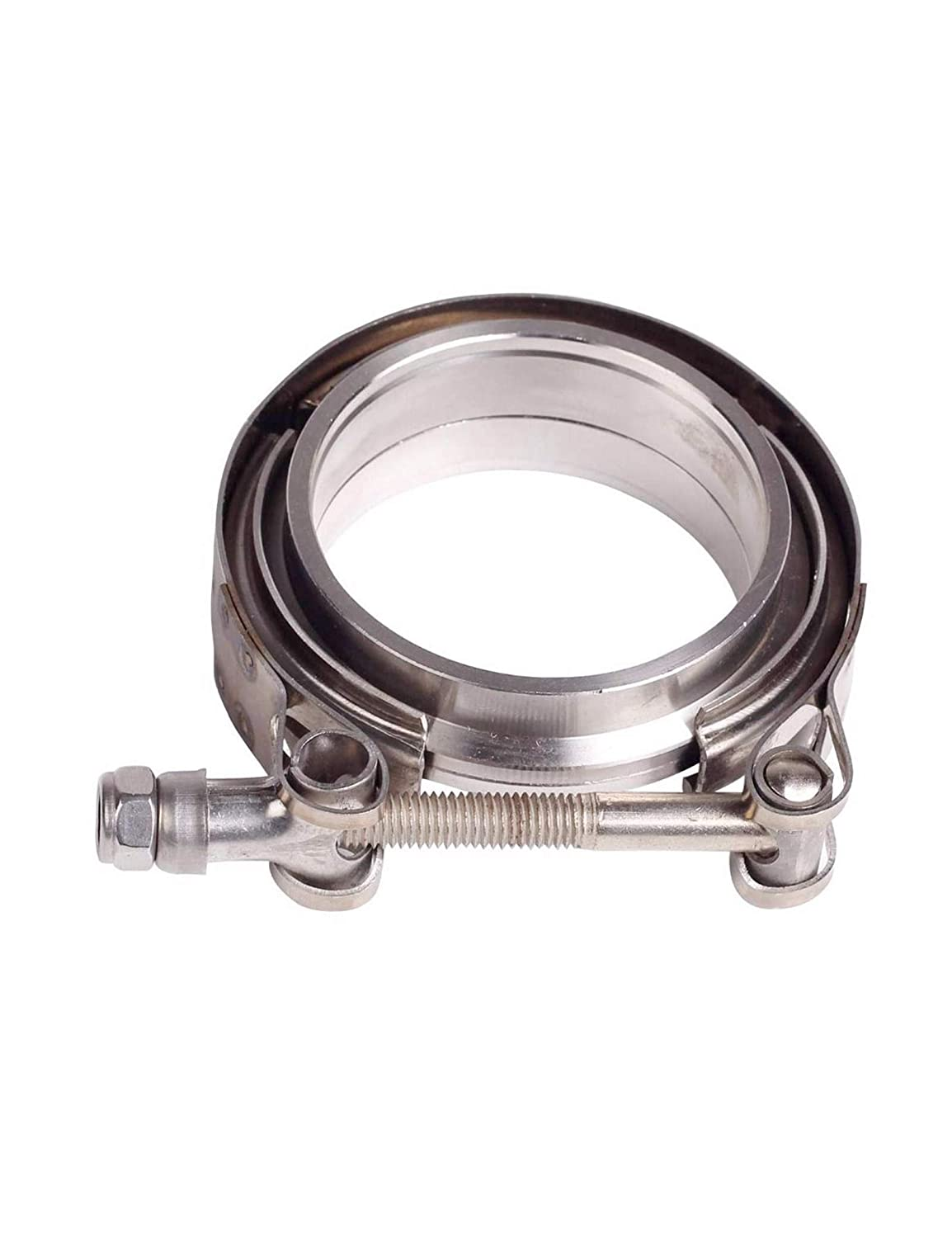 V-Band Flange Kit Downpipes,Exhaust Systems 3.5in 89mm SS Vband 3.5 Inch V Band Clamp with Stainless Steel Flanges for Turbo