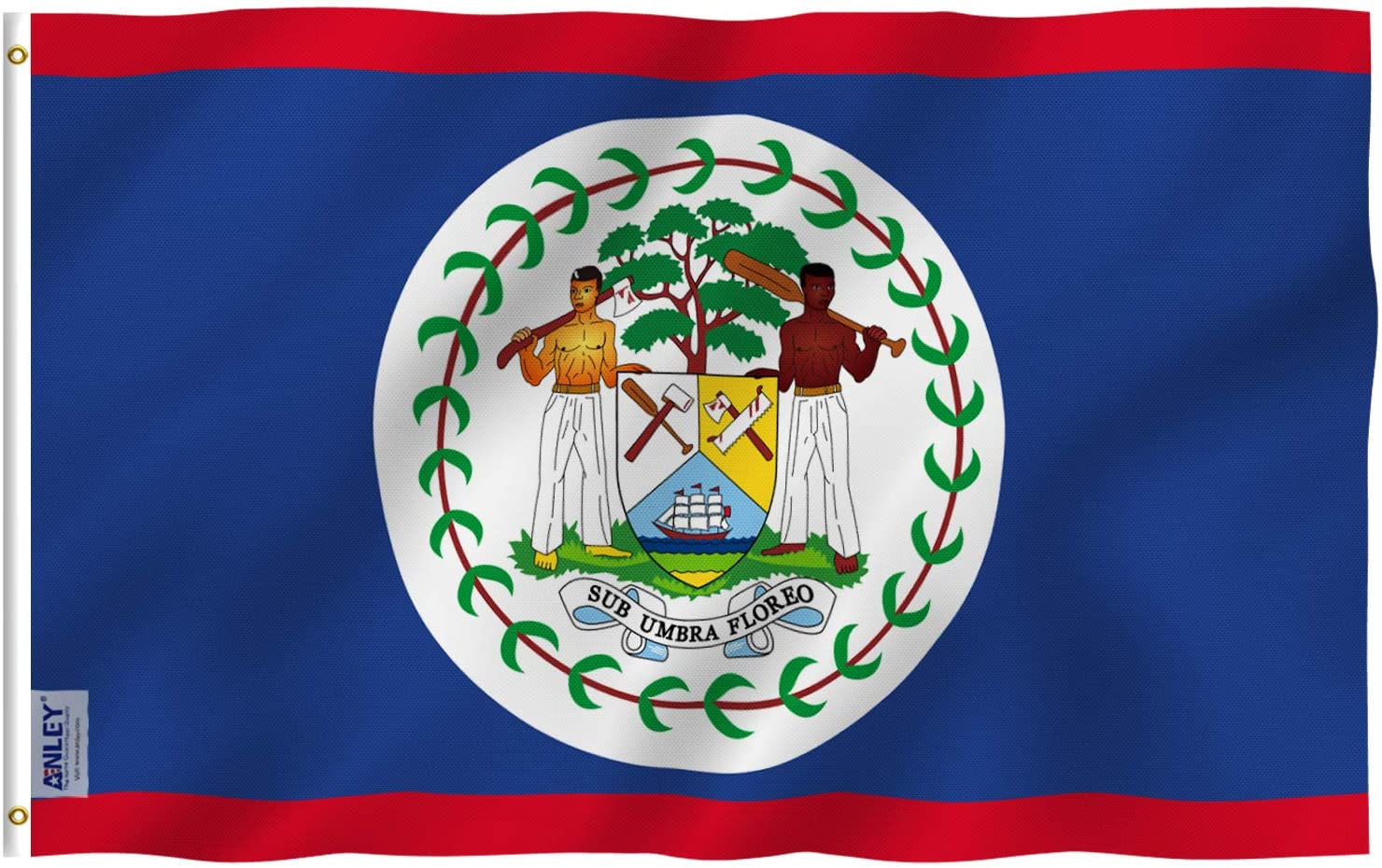 Anley Fly Breeze 3x5 Foot Belize Flag - Vivid Color and Fade Proof - Canvas Header and Double Stitched - Belizean National Flags Polyester with Brass Grommets 3 X 5 Ft