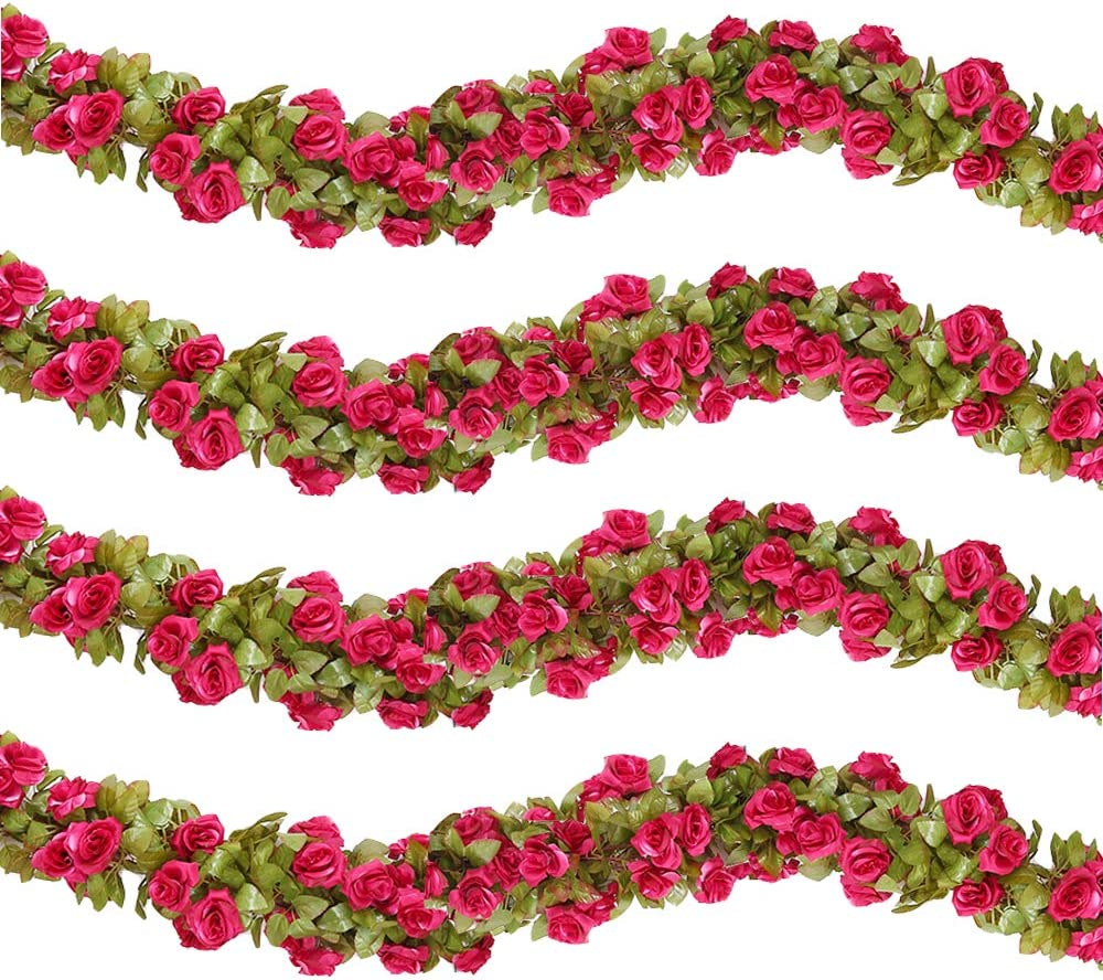 HEBE 4 Pack (29.8 FT) Artificial Rose Vine Silk Flower Garland Hanging Baskets Plants Home Outdoor Wedding Arch Garden Wall Decor