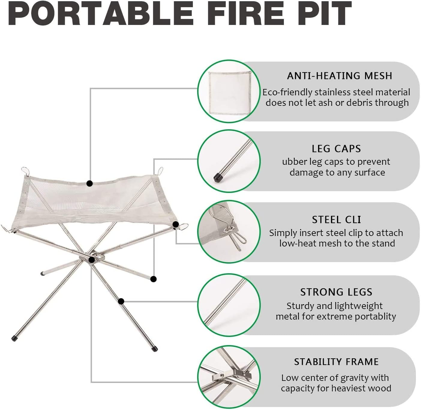 SAKUUMI Portable Fire Pit Camping Fire Pit with Carrying Bag Outdoor Collapsing 304 Stainless Steel Mesh Fireplace for Camping Backyard Garden Patio Heater Travel Picnic Bonfire Firepits UPGRAD