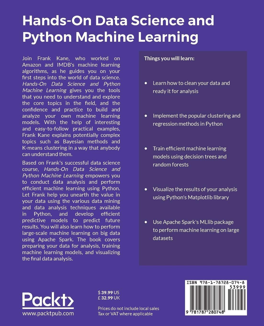 Buy Hands-On Data Science and Python Machine Learning Book