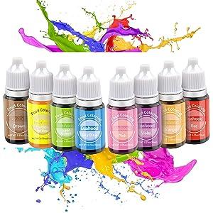 Euahood Food Coloring Liquid- 8 Color Neon Tasteless Food Dye for Cake Decorating,Baking,Icing,Pastel,Cooking,Slime Making,DIY Crafts-Vibrant Food Color for Kid and Vegan .35 Fl. Oz (10 ml) Bottles