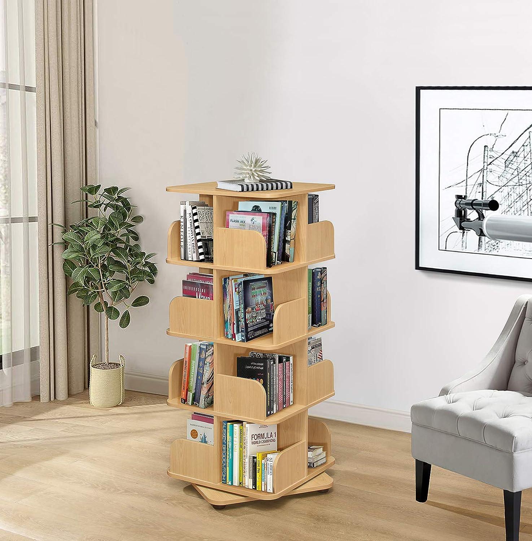 Kings Brand Furniture - 4-Tier Revolving Bookcase Bookshelf, Media Storage Cabinet, Natural