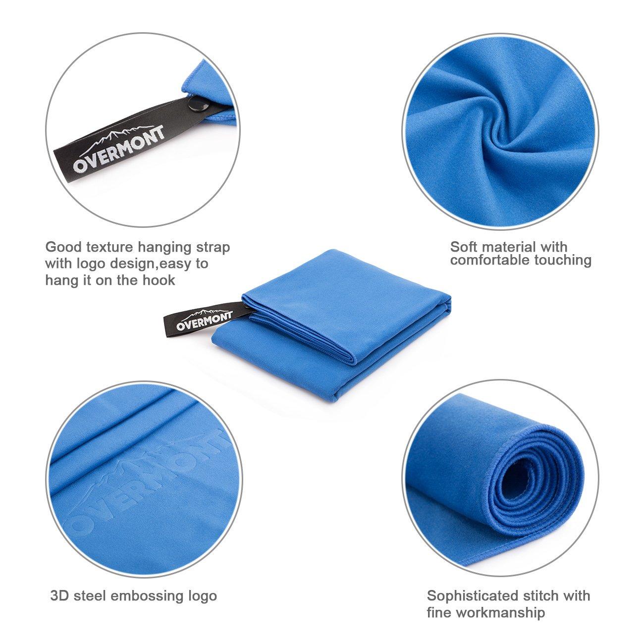 Overmont 2xToalla Deportiva Secado rápido de Microfibra Super Absorbente, Ideal para Deportes, Viajes, Playa, natación M, Violeta y Azul: Amazon.es: ...