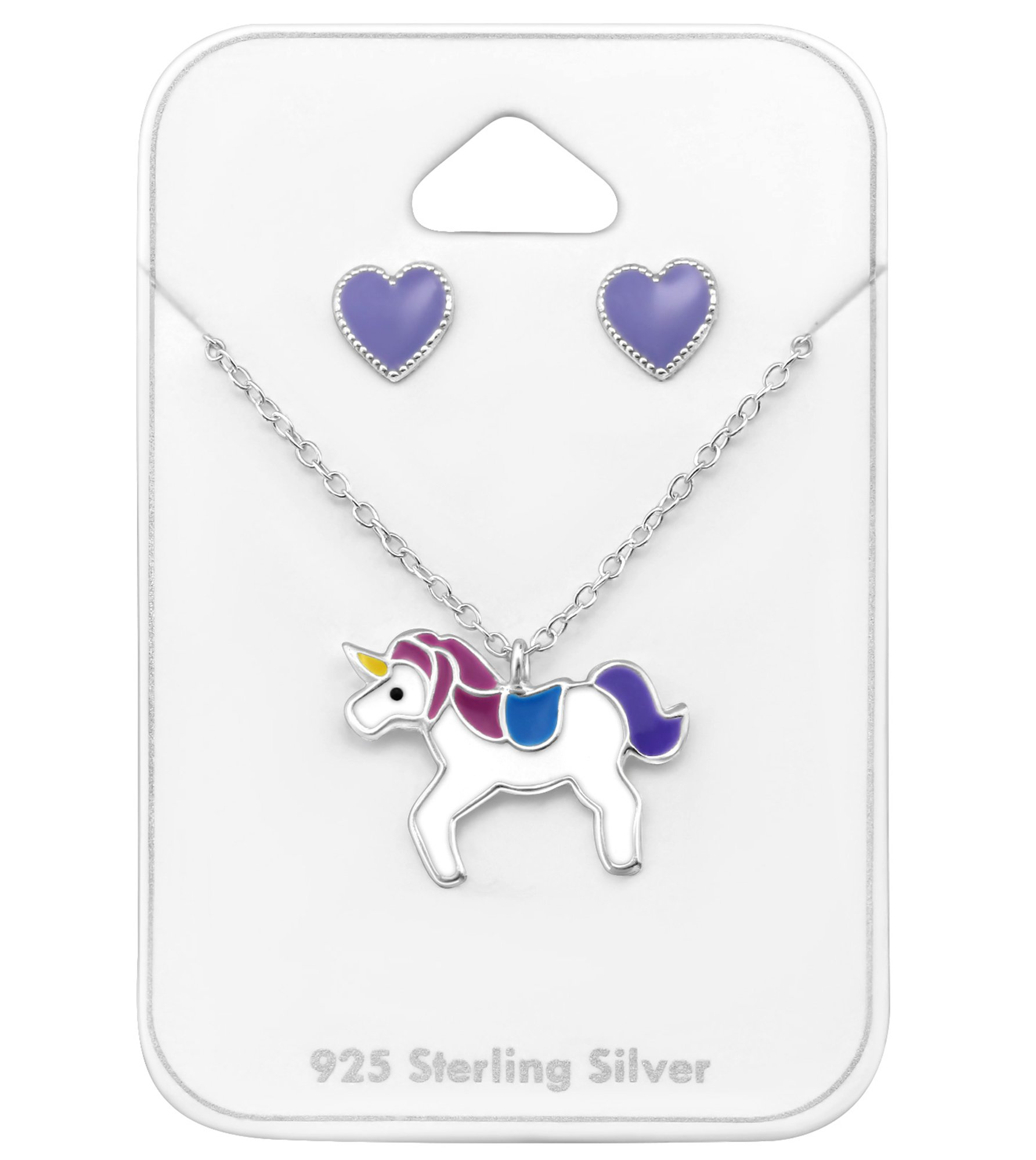 Best Wing Jewelry .925 Sterling Silver ''Purple Heart and Unicorn'' Set Necklace and Stud Earrings for Children and Teens