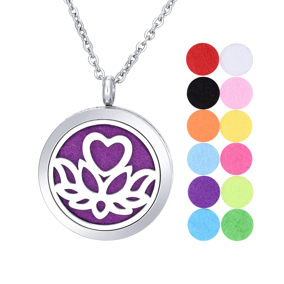 Stainless Steel Aromatherapy Essential Oil Diffuser Necklace with Lotus for Women Gold-plated Supreme glory SGto-B268425