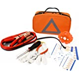 NoOne Roadside Assistance Auto Emergency Kit + First Aid Kit – Orange Bag - Contains Jumper Cables, Tools, Reflective Safety Triangle and more. Ideal winter accessory for your car, truck, camper