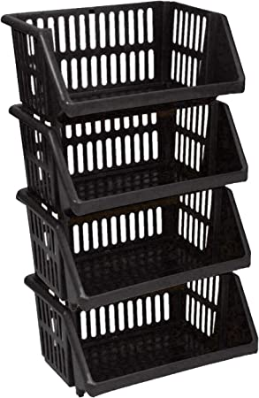 Red Large 3 Tier Stacking Baskets Storage Veg Rack Plastic Stackers 35cm