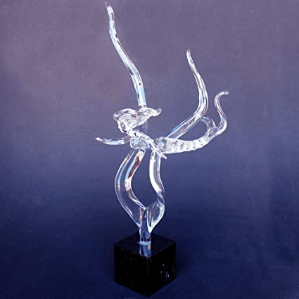 Amazon.com: Hand Blown Glass Mermaid Crystal and Black Marble ...