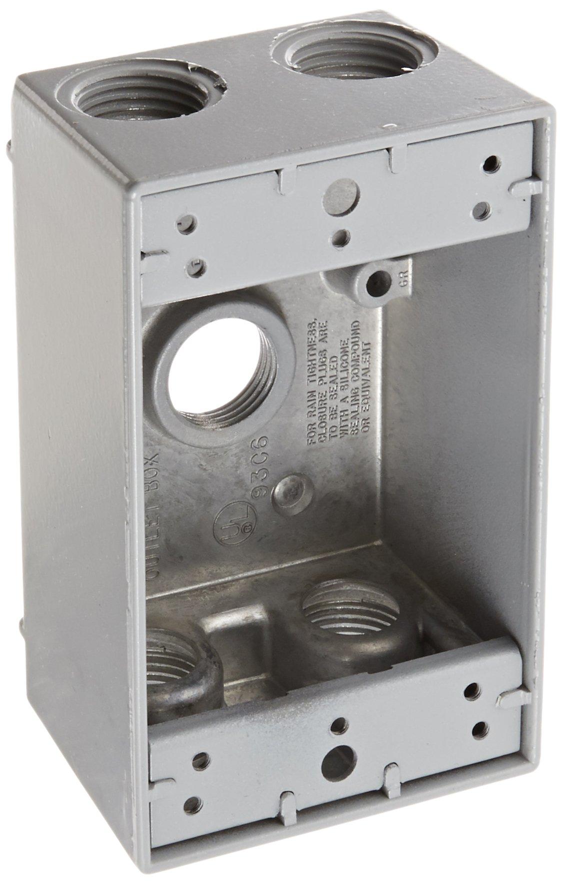 RAB Lighting B5 Weatherproof Single Gang Rectangular Box with 5 Holes, Aluminum, 1/2'' Tap Size, 2-3/4'' Length x 2'' Width x 4-3/4'' Height, Silver Gray