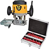 Wolf 1200 Watt Plunge Router with Variable Speed Plus 15 Piece Router Bit Set