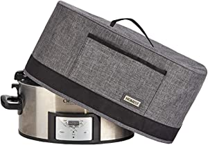 HOMEST Slow Cooker Anti Oil Dust Cover Compatible with Crock Pot 6, 7, 8 Quart, These Cover Have Front Pocket for Recipe and Spoon, Grey (Patent Pending)