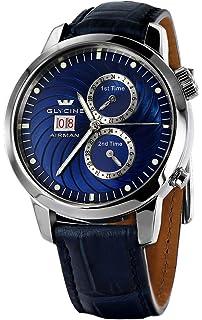 Glycine Mens 3919-18-LBK8 Airman Analog Display Swiss Automatic Blue Watch