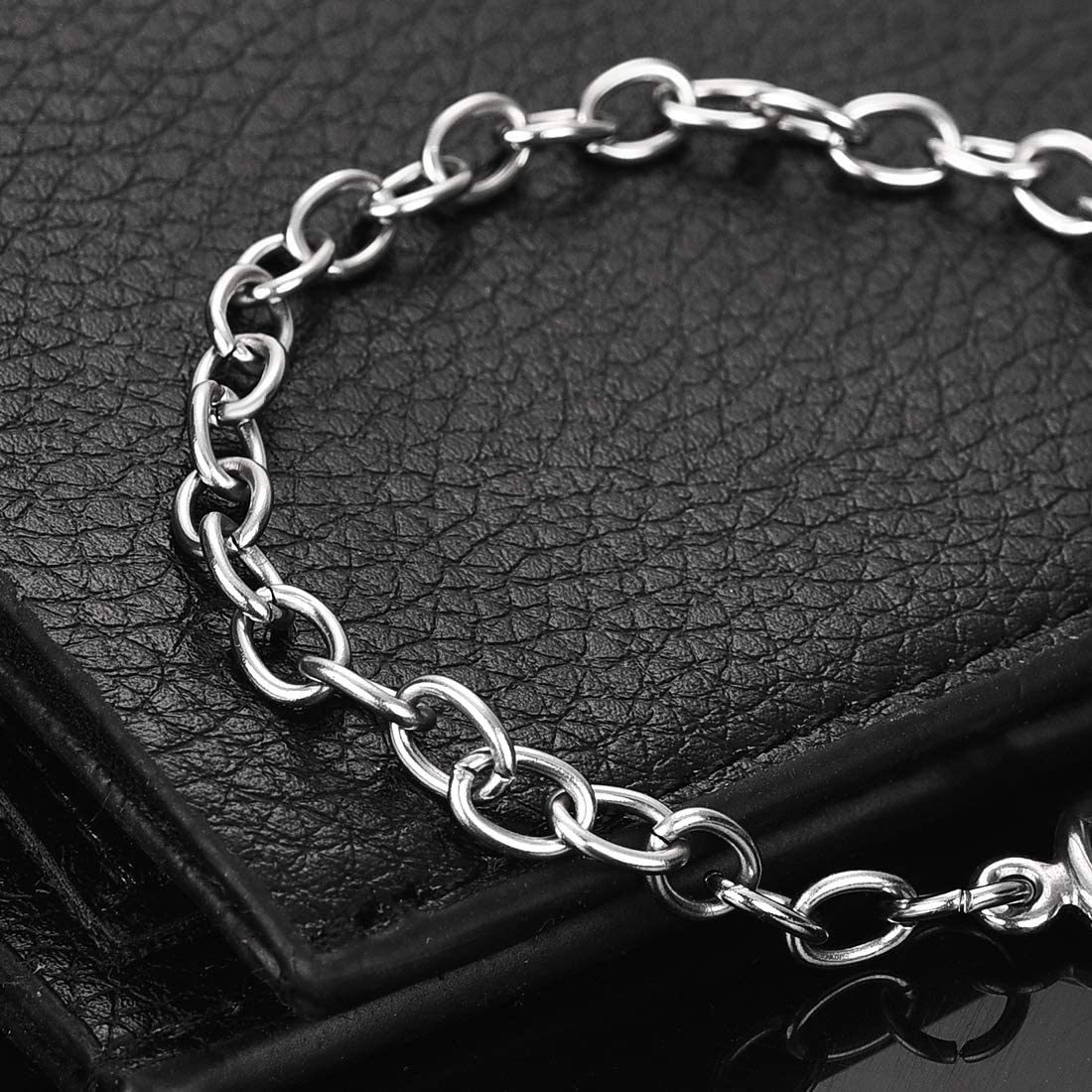 DROLE Bracelet Chain Stainless Steel Cable Link Chain with Toggle Clasp Jewelry Making Chain Bracelet Link 5Pcs Steel Color